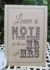 Wish Tree Wishes for the New Mr & Mrs A4 Size Poster Shabby Chic Kraft Card